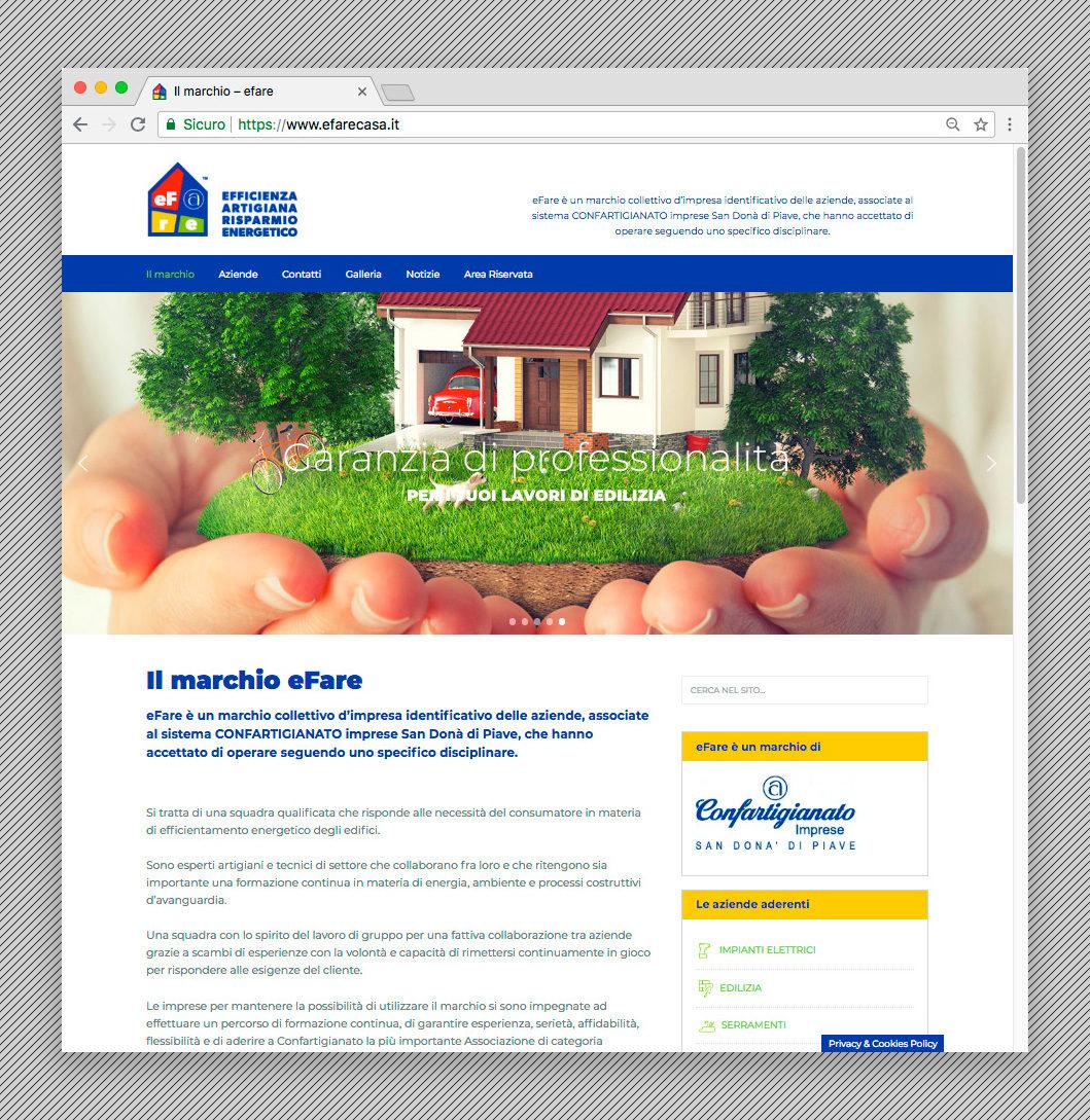 Home page del sito internet di eFare